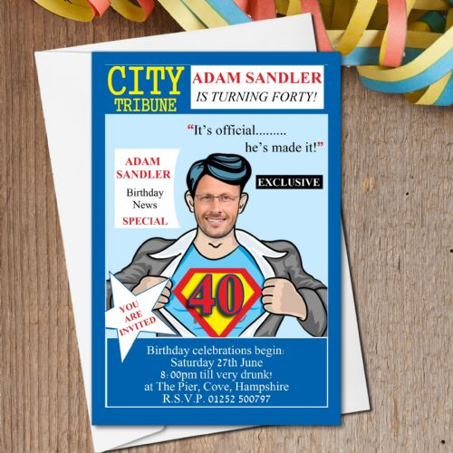 10 Personalised City News Birthday Party PHOTO Invitations N158